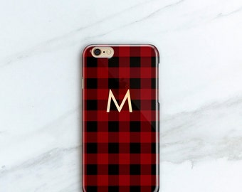 Personalized Buffalo Plaid iPhone 6S, 7, Plus Monogram Christmas Gift for Her or Him, Lumberjack