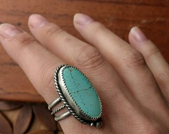 Natural #8 Mine Turquoise Sterling Silver Oval Boho Ring - Size 7.5 - bohemian hippie ponderbird