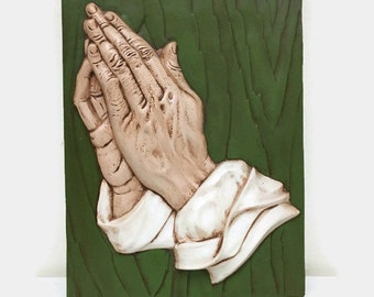 Vintage Praying Hands Plaque Wall Art - Prayer Relief Wall Hanging - Ceramic - Religious Art Decor - Study of the Hands of an Apostle