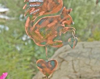 Squirrel Decor Garden Stake / Metal Garden Art / Yard Art / Copper Art / Squirrel Garden Sculpture / Outdoor Metal Art / Squirrel Spike