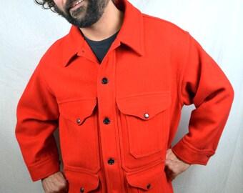 Vintage Filson Red Virgin Wool Mens Hunting Jacket Mackinaw Cruiser Coat