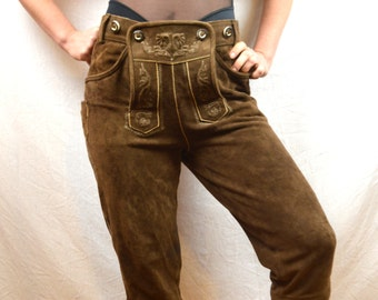 Vintage Leather Suede WOW German Lederhosen Costume Shorts - Spieth & Wensky