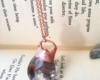 Garden Quartz Necklace, Sediment Unique Stone Necklace, Quartz and Copper Jewelry, Electroplated Copper Necklace, Electroformed Necklace