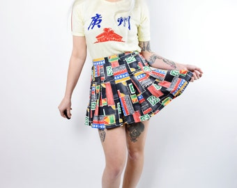 VTG 80s 90s Abstract Tennis Mini Skirt Pleated Hip Hop Urban Jamaican Flag Pop Art Geometric High Waist Monochromatic Grunge Vintage Skirt