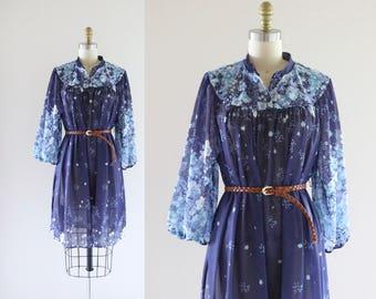 1970's sheer belted dress