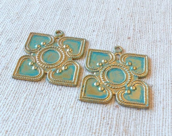 Hand Faux Bright Verdigris Patina Square Brass Patterned Charms (2) Geometry, Boho