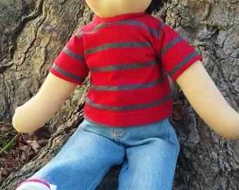 """SALE on Waldorf Dolls,  Boy, Handmade Waldorf Doll, Cloth Doll, Rag Doll, 16"""" Doll, Cotton and Wool Doll, Doll for Boys."""