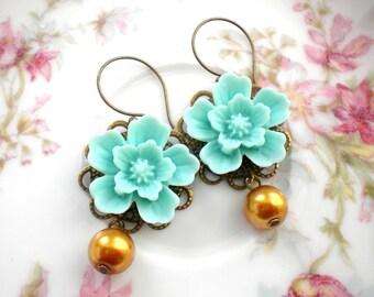 Flower Earrings Chandelier Earrings Gold Pearl Earrings Turquoise Earrings Gift For Girlfriend Flower Dangle Earrings Bridesmaid Earrings