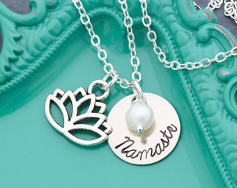 SALE • Yoga Gift • Lotus Jewelry • Namaste Gift • Peace Tranquility Jewelry • Yoga Necklace Zen Gift • Lotus Flower Charm •Yoga Jewelry Gift