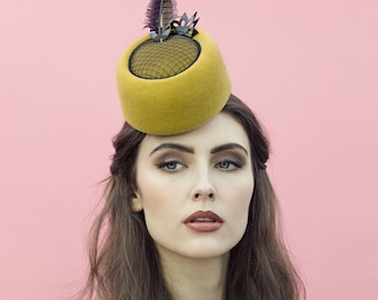 The Luna Pillbox Hat, Headpiece in Gold with Feathers.