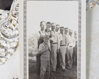 Men and a Boy on the Farm-1940s-Black and White Snapshot-Outdoor Photograph-Male Family Member Group Photo-Antique-Vintage Photograph