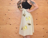 Vintage 70's Tan And Yellow Wrap Skirt With Hand Painted Butterfly Detail One Size