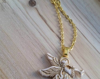 Gold Angel Necklace - Repurposed Christmas Button Jewelry - Lightweight Christmas Angel