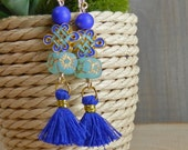 Turquoise and Cobalt Infinity Knot, Czech and Venetian Glass and Fringe Gold Filled Earrings