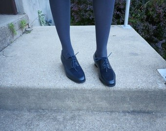 Navy Leather and Suede Oxfords