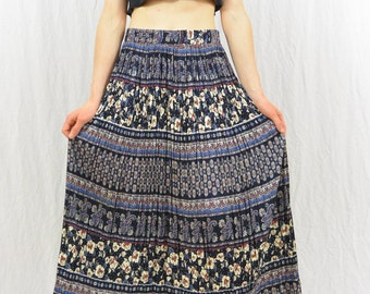 Vintage Bohemian Maxi Skirt, High Waisted, Size Small-Medium, Floral, Paisley Print, Blue, Hippie, Accordion Skirt, Summer Skirt