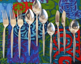 "EPIC ""Prince"" stainless flatware Odd Lot 10 pieces forks spoons spreaders Minimalist JAPAN"