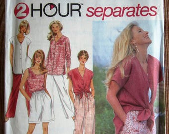 Easy Sew Misses Pull-on Pants, Shorts, Pullover Top and Button Front Top Sizes XS S M Vintage 1990s Simplicity Pattern 9518 UNCUT