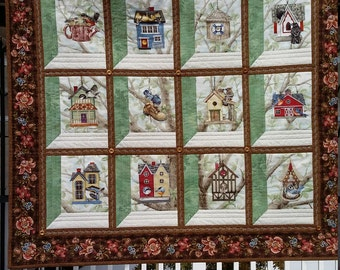 "Quilted Birdhouse Wallhanging, 32 x 28.5"", Brown and Green Wallhanging, Attic Window,  One of a Kind, Heirloom Quality, Quiltsy Handmade"