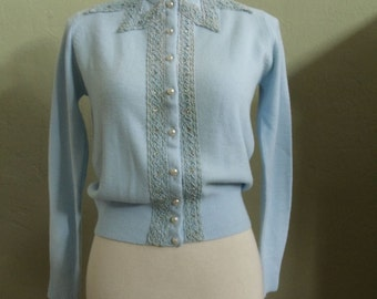 "Vintage 50's Debutante by Wooltex LGT Blue Long Sleeved Cardigan Embellished Soutache Braid, Velvet Ribbon & Rhinestones Bust 36"" Waist 28"""