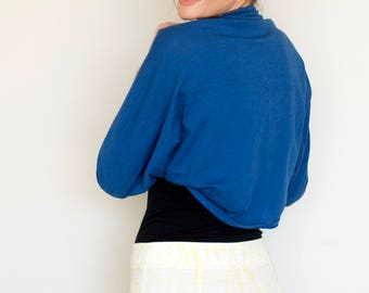 Shrug bolero, royal blue shrugs for dresses, jersey shrug, royal blue bolero shrug, evening wraps shawls, casual shrug