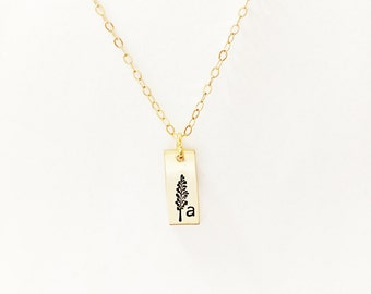 Initial and Tree Necklace // Engraved Initial // 14kt Gold Initial // Hand-Stamped Engraved Initial // Custom Necklace // Layering Necklace