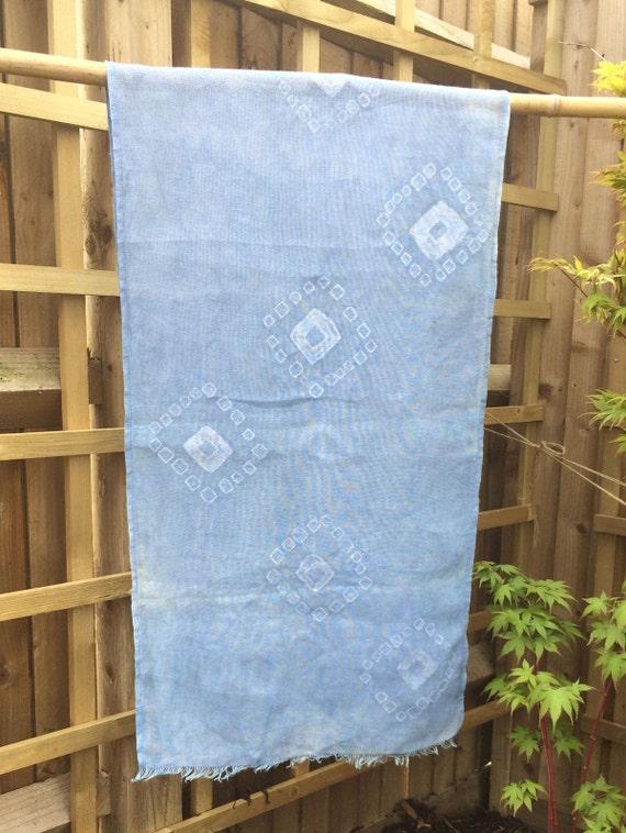 Shibori Indigo Linen Shawl 48 cm x 170 cm Tsukidashi Kanoko linen scarf wrap plant dyed hand painted printed eco dye vegan
