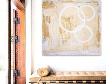 GENESiS original abstract painting by Linnea Heide - 36x36 acrylic on canvas - minimal circles geometric - gold monochromatic - impasto
