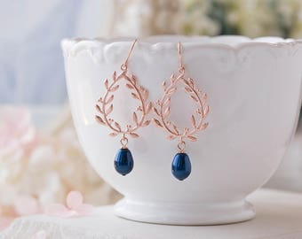 Navy Blue Teardrop Pearl Rose Gold Laurel Wreath Earrings, Navy Blue Wedding Rose Gold Wedding Earrings, Bridal Earrings, Bridesmaid Earring