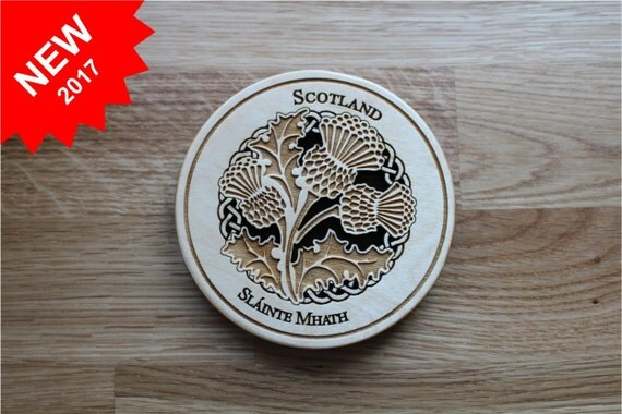 "Scotland Thistle Coaster, Pattern C61, Baltic Birch Wood, approx. 3.88""  x  3.88""  x  3/8"" thick, Laser Cut, Paul Szewc, Masterpiece Laser"
