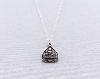 Silver Buddha Necklace, Silver Buddha Pendant, Sterling Silver Necklace, Silver Buddha Charm Necklace, Indira Boheme