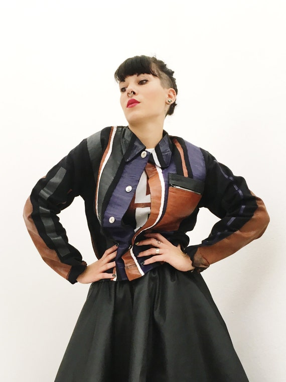 Cotton Blue Jacket Hand Painted Leather Effect Lola Darling Colored Stripes Unisex Made in Italy