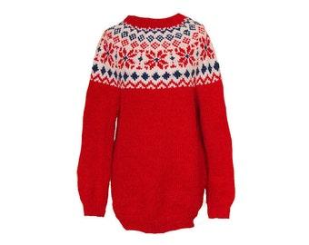 Vintage 70s Red Fair Isle Sweater Size Medium