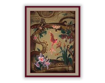 Fairy art, beautiful bird, print on canvas, red fire bird, symbol of love, joy, happiness, vitality, blessing, luck, mirth, inspiration