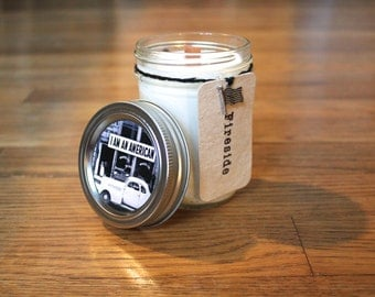 Fireside Soy Candle - Plantable Tag - Soy Wax - Wood Wick - Wildflower Seed Tag - 8 oz. Soy Candle - Americana