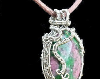 Enchanted Forest Green and Ruby Pendant in Silver Colored Copper Wire with Spirals and Swirls- Synthetic Ruby in Zoisite pink red green