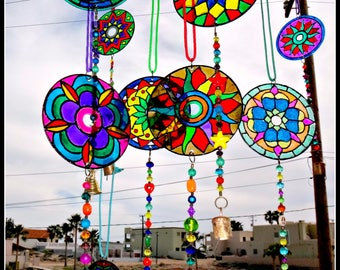 CD Suncatchers, mandelas, wind chimes, mobiles, colorful mobiles -FREE SHIPPING