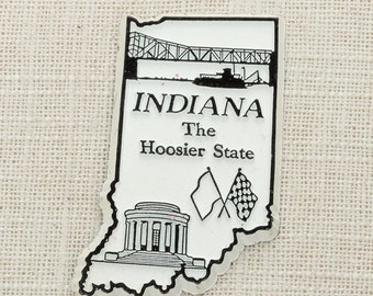 Indiana Vintage Silhouette Magnet   The Hoosier State Travel Tourism Summer Vacation Memento Indianapolis   Indy USA America Refrigerator 5S