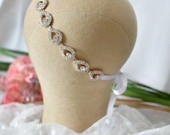 Rose Gold Wedding headpiece, bridal headband, Rose Gold, ELSIE, Rhinestone Headband, Wedding Headband, Bridal Headband, Bridal Headpiece