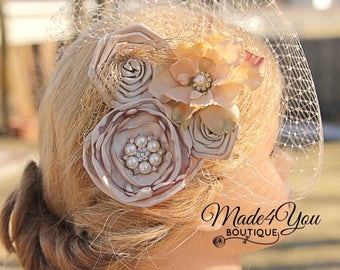 Blush Champagne Birdcage Veil - 53 Different Colors - Bridal Fascinator-Wedding Headpiece