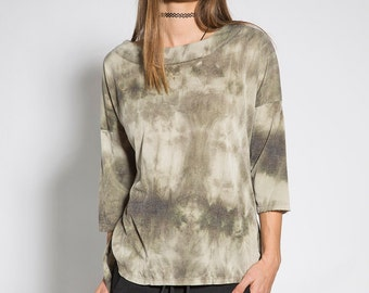 Women sleeve shirt Khaki shirt Casual women shirt  Batik shirt  Loose shirt Cotton boho shirt