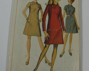 Vintage 1960s Sewing Pattern/Simplicity 7796/Woman's Misses' A Line Princess Dress/Stand Up Collar/Back Zipper/Size 10 Bust 32 1/2 inches