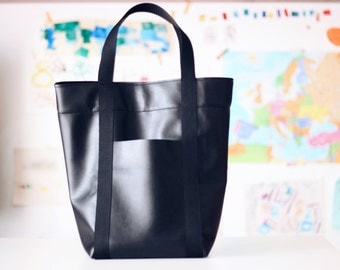 City walker carry-all best tote, large size. Vegan tote. Black faux leather shoulder bag. Made to order.