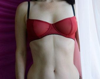 Women Sleepwear & Intimates Bras The Sheer Cup Underwire Red Mesh Bra MADE TO ORDER