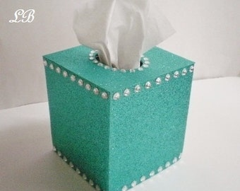 TURQUOISE/TEAL GLITTER & Bling Tissue Box Cover-Sparkling Fine Glitter w/Clear Rhinestones-or choose from variety of glitter colors