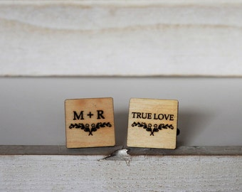 True Love Personalized Wedding Cufflinks Initials Cufflinks Wreath Engraved Cuff Links Groom Cufflinks