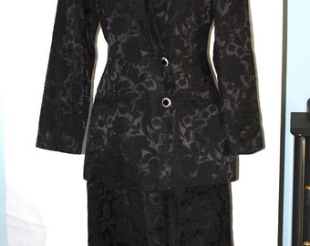 1980's Oleg Cassini Black Brocade Print Suit