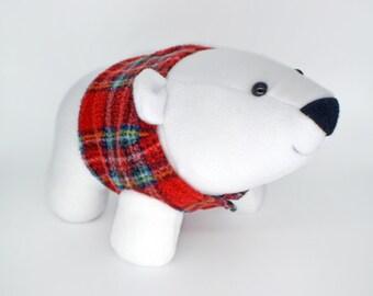 Polar bear  kawaii plush toy handmade plusheez bear north pole animal cute tartan scottish scotland norway soft toy