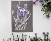 Purple irisses - Lavender flowers - Painting on paper and viscose satin - Floral original artwork, home decor, mixed media art - OOAK