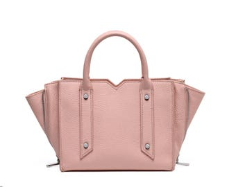 Pink leather trapeze shape tote bag